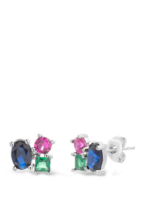 Sterling Silver Lab Created Emerald, Ruby and Sapphire Stud Earrings