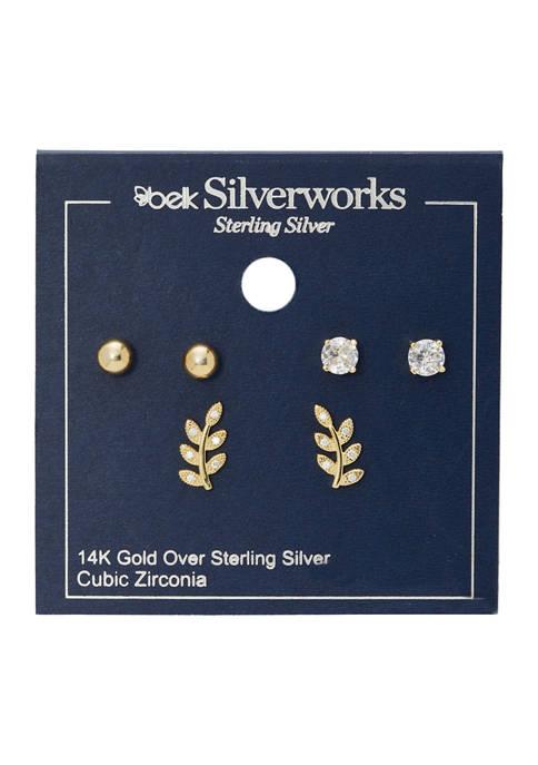 Belk Silverworks Trio Earring Pave Cubic Zirconia Leaf