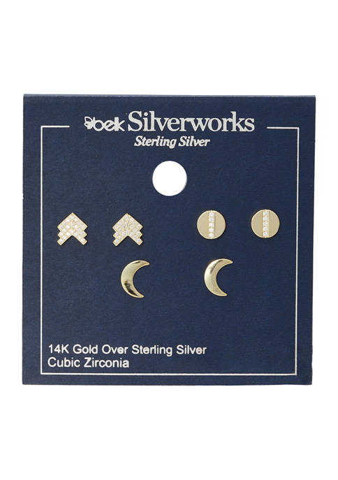 Trio Sterling Silver Disc, Arrow and Crescent Earring Set