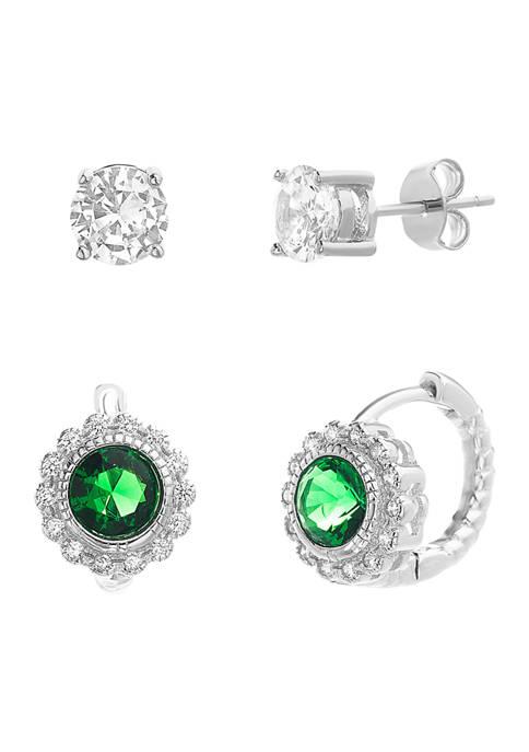 Belk Silverworks Lab-Created Emerald and Cubic Zirconia Huggie