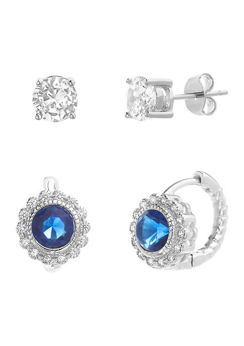 Belk Silverworks Sterling Silver Created Sapphire and Cubic