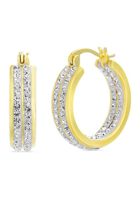 Belk Silverworks Fine Silver Plated Swarovski® Crystal Hoop