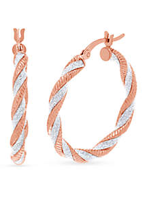 Rose Gold-Tone and Glitter Twisted Hoop Earrings