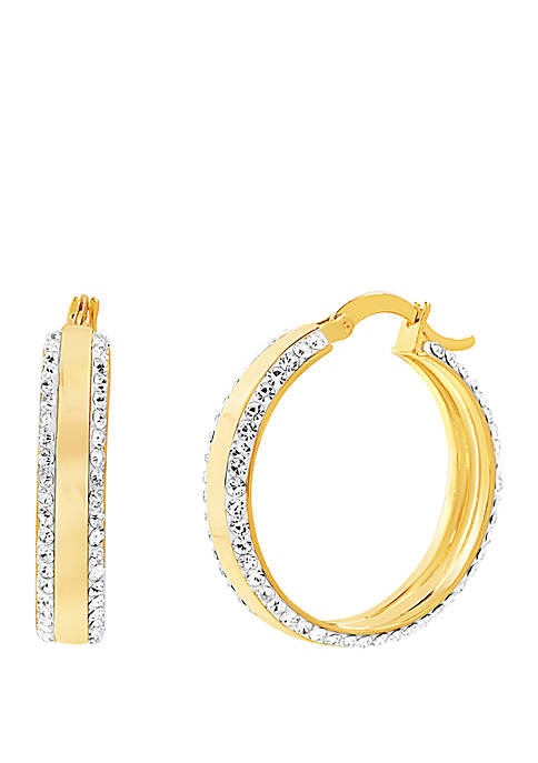 Gold Tone Thick 2 Line Pave Hoop Earrings