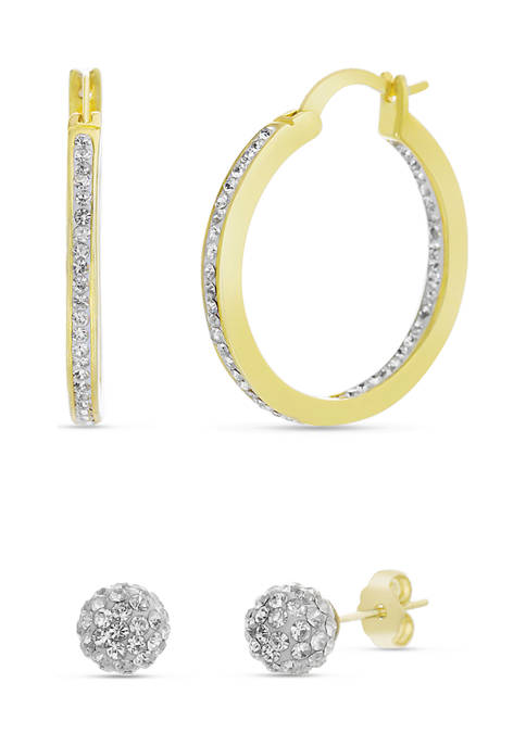 Fine Gold Plated 2.25 ct. t.w. Swarovski® Crystal Hoop and Ball Stud Duo Earring Set