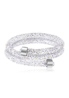 Belk Silverworks Women Fine Silver Plated 108 Ct. T.W. Swarovski Crystal Cuff Bracelet