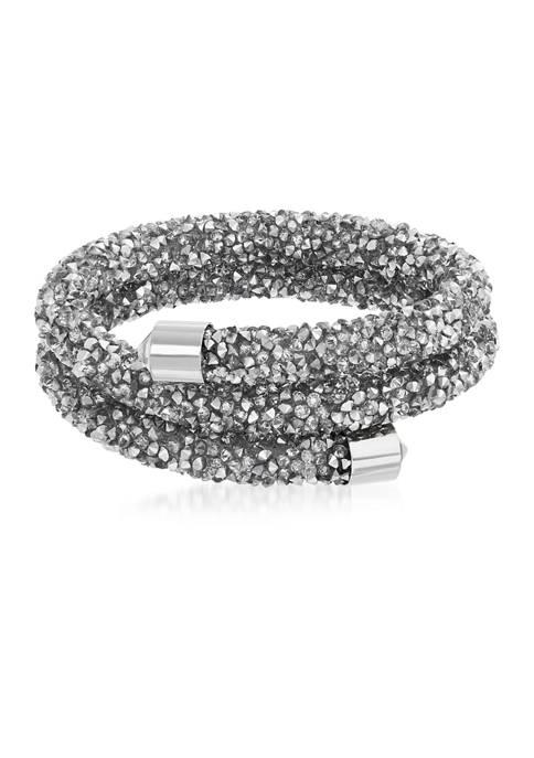 Fine Silver Plated 108 ct. t.w. Swarovski® Crystal Cuff Bracelet