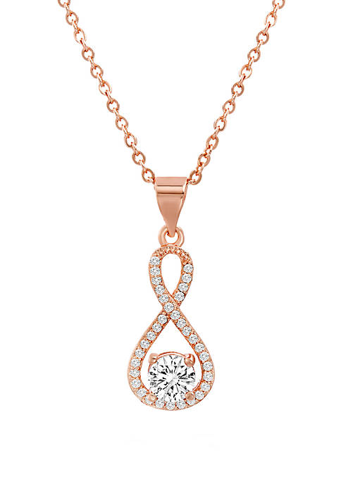 Rose Gold Sterling Silver Cubic Zirconia Infinity Necklace