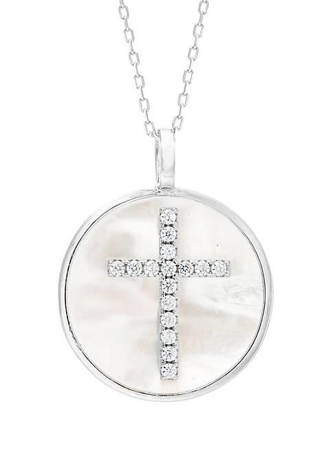 Belk Silverworks Sterling Silver Mother Of Pearl Cross