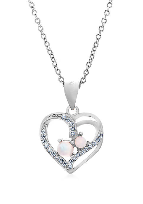 Opal Cubic Zirconia Heart Necklace in Sterling Silver