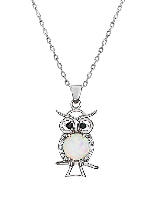 Sterling Silver Opal Owl Necklace