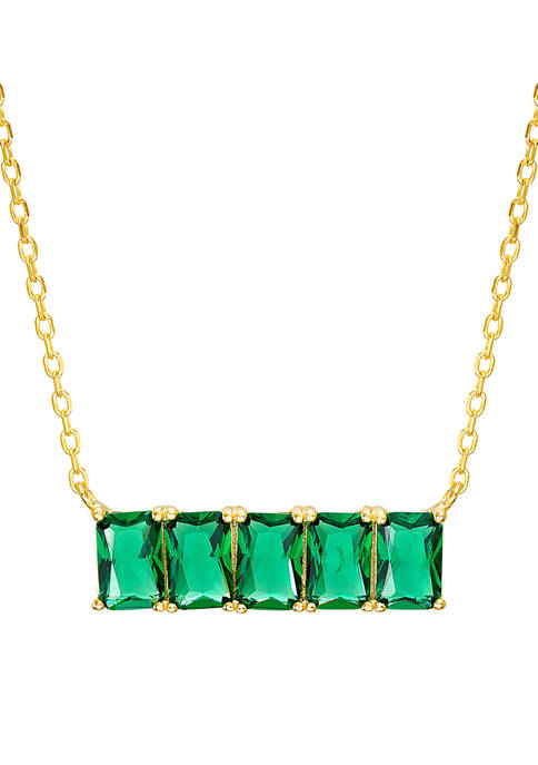 Created Emerald Station Bar Necklace in Gold-Plated Sterling Silver