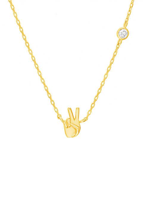 Belk Silverworks Gold Over Sterling Peace Sign Hand