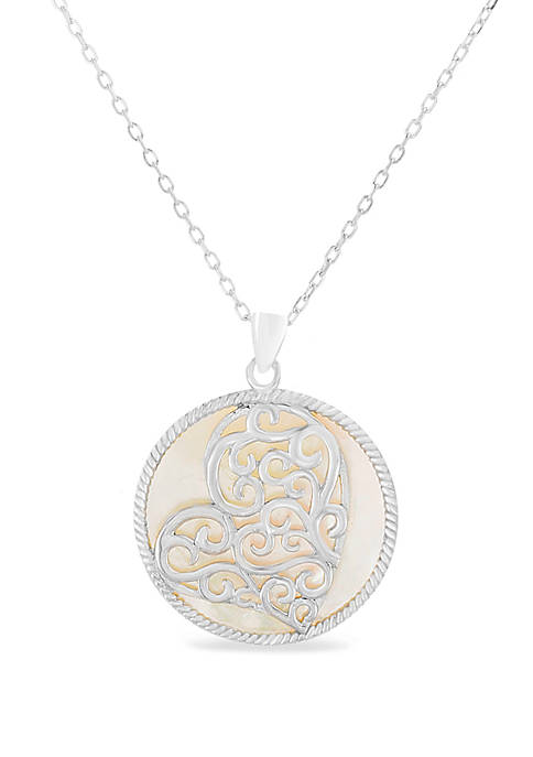 Sterling Silver Mother Of Pearl Heart Overlay Pendant Necklace