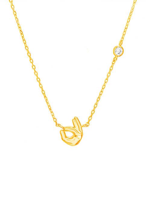 Belk Silverworks Gold Over Sterling Okay Symbol Necklace