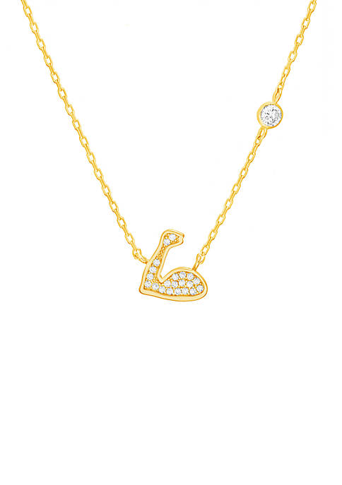 Gold Over Sterling Silver Muscle Arm Cubic Zirconium Necklace
