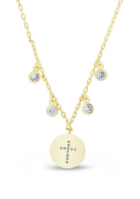 Belk Silverworks Gold Over Sterling Silver Cross Cubic