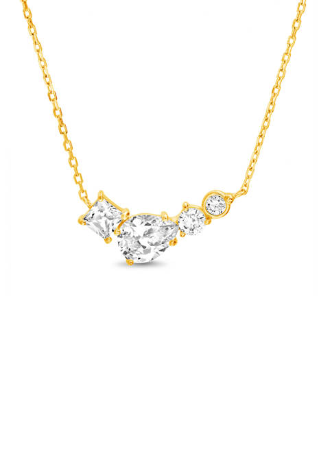 Gold over Sterling Silver Lab Created White Sapphire Bar Station Necklace
