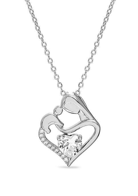 Sterling Silver White Sapphire and Cubic Zirconium Heart Necklace