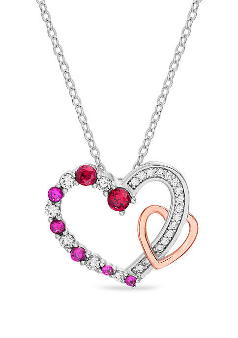 Belk Silverworks Sterling Silver Two Tone Ruby and