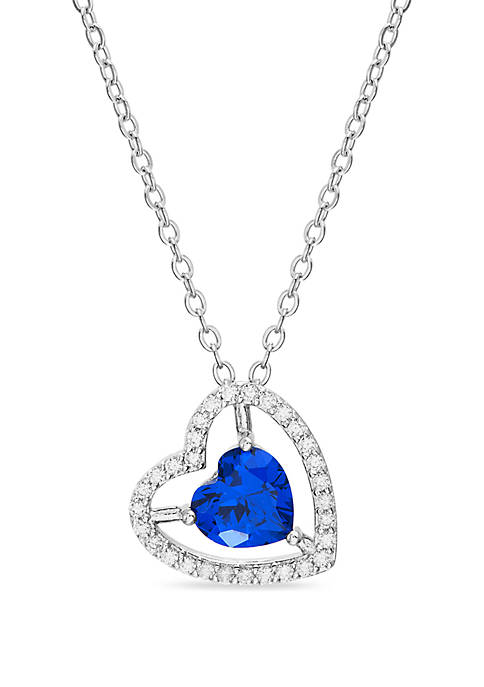 Sterling Silver Blue Sapphire and Cubic Zirconia Heart Necklace