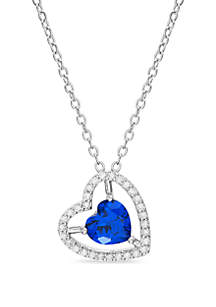 Belk Silverworks Sterling Silver Blue Sapphire and Cubic Zirconia Heart Necklace