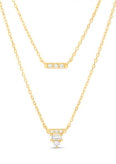 Gold over Sterling Silver Cubic Zirconia Bar, Round and Rectangle Layered Necklace