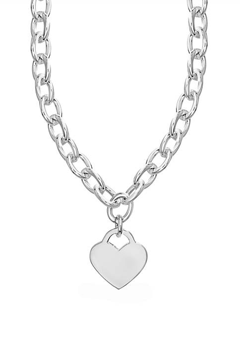 Belk Silverworks Fine Silver Plated Heart tag necklace