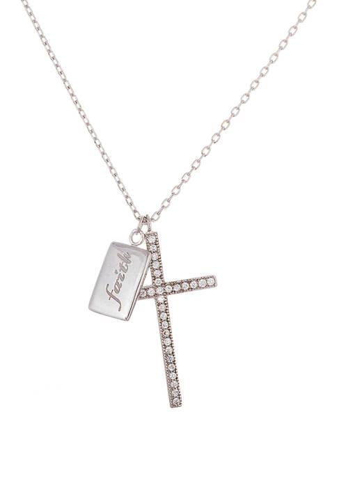 Belk Silverworks Fine Silver Plated Cubic Zirconium Cross