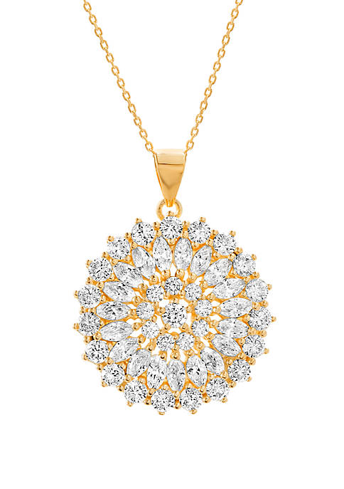 Gold Plated Cubic Zirconia Floral Design Necklace