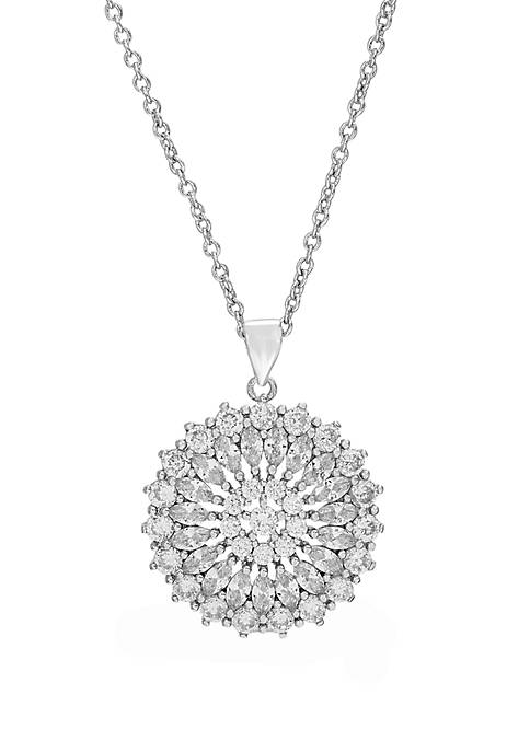 Fine Silver Plated Cubic Zirconia Floral Design Necklace