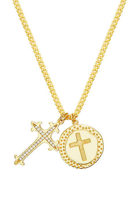 14 Karat Gold Plated Cubic Zirconia Cross Disc Charm Necklace