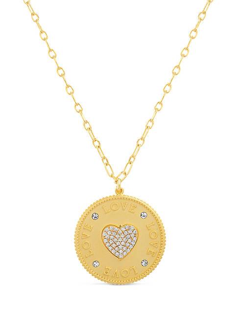 Belk Silverworks 14K Gold Plated Cubic Zirconia Heart