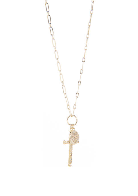 Cross and Heart Charm Necklace