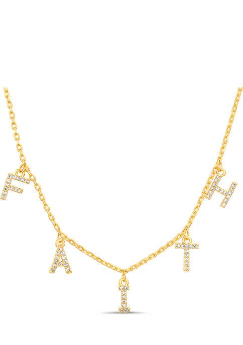 Cubic Zirconia Faith Necklace