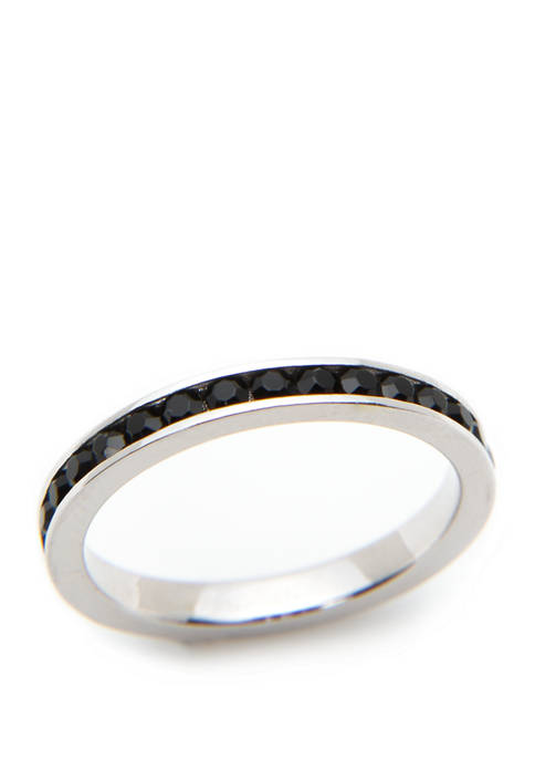 Silver and Black Eternity Band Ring