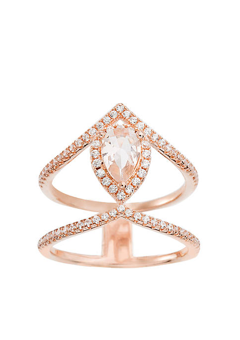 Rose Told Sterling Silver Teardrop Morganite Double Ring