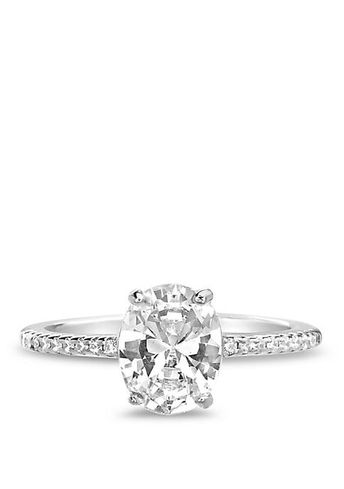 Sterling Silver Cubic Zirconia Oval Prong Ring