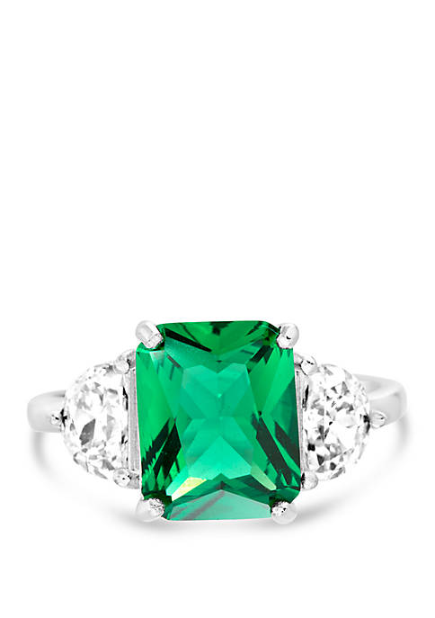 Belk Silverworks Sterling Silver Lab Created Emerald Cubic