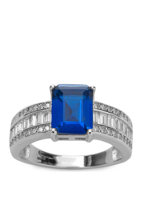 Sterling Silver  Emerald Cut Lab Created Blue Sapphire Ring with Cubic Zirconia Accents