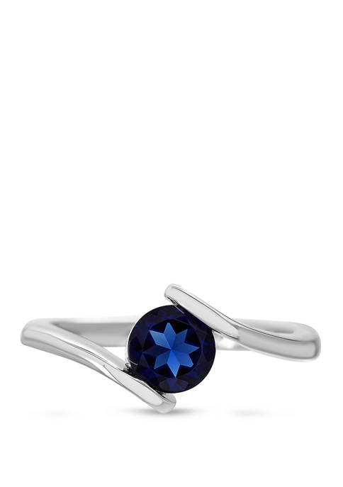 Sterling Silver Lab Created Sapphire Split Shank Ring