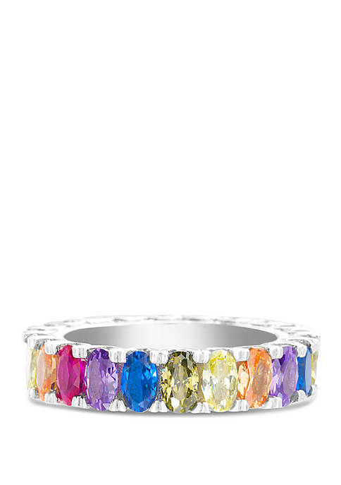 Fine Silver Plated Rainbow Cubic Zirconia Ring