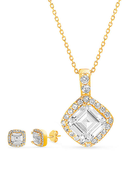 Gold Tone Over Sterling Silver Cubic Zirconia Square Cushion Necklace and Earring Set