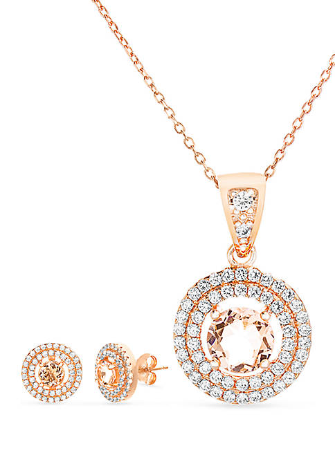 Rose Gold Over Sterling Silver Morganite Cubic Zirconia Necklace and Earring Set