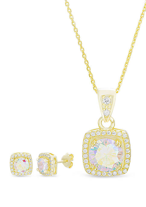 Gold Tone Over Sterling Silver Square Cubic Zirconia Halo Necklace and Earring Set