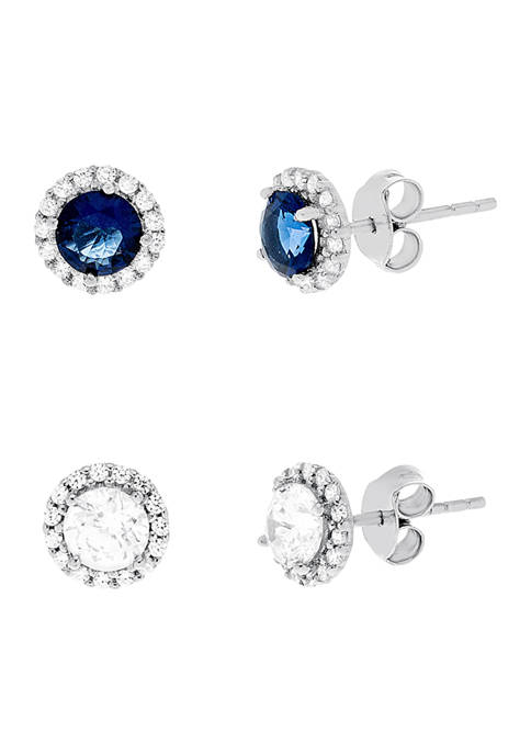 Belk Silverworks Created Sapphire and Cubic Zirconia Halo
