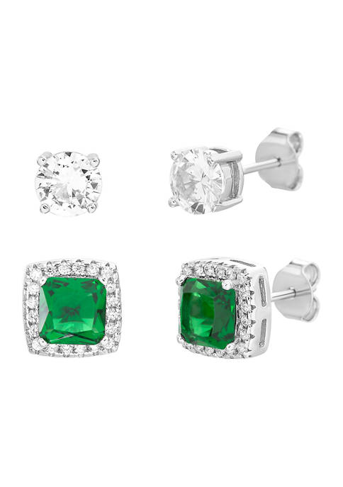 Belk Silverworks Created Emerald and Cubic Zirconia Square
