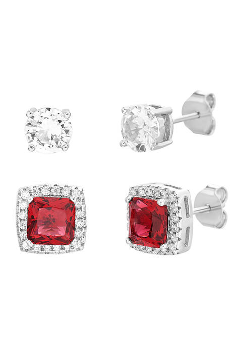 Belk Silverworks Created Ruby and Cubic Zirconia Square