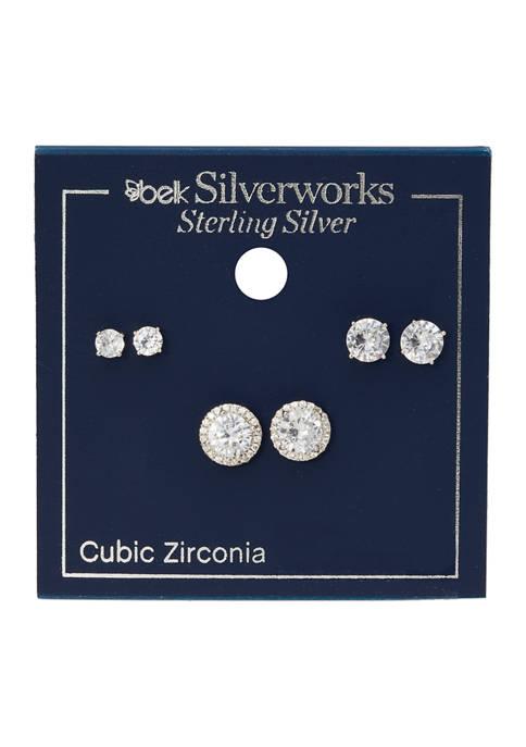 Silver-Tone Cubic Zirconia Trio Earring Set