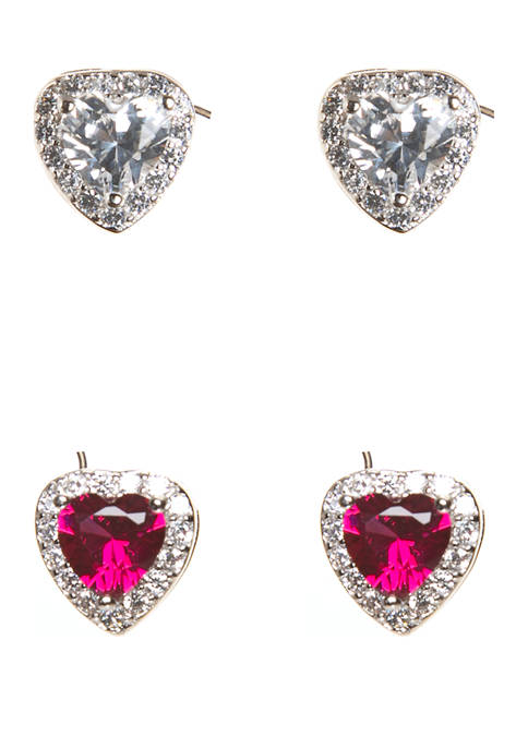 Set of 2 Sterling Silver Lab Created Sapphire and Ruby Heart Earrings